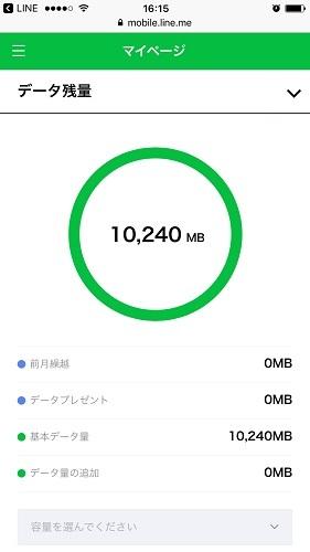 LINEモバイル マイページ