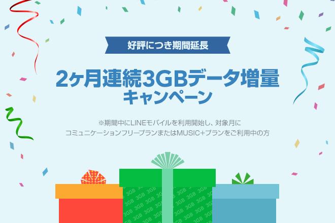 LINEモバイル 2ヶ月連続3GBデータ増量 キャンペーン