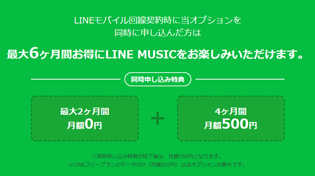 LINE MUSIC 同時申し込み特典