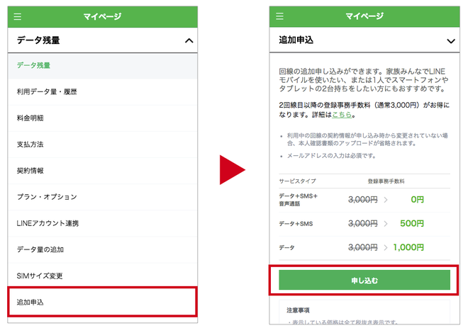 LINEモバイル 追加申込 方法